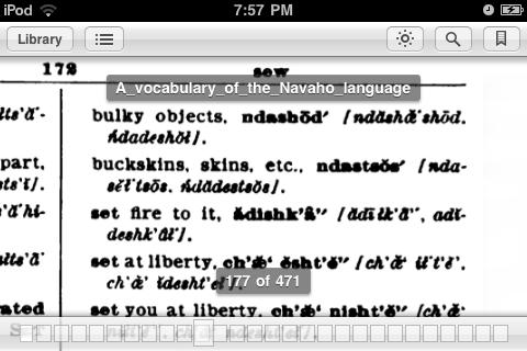 Navajo Dictionary on my iPodNavajo Dictionary